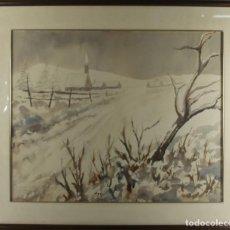 Arte: C3-007. JAIME HIERROS. ACUARELA SOBRE PAPEL. REICHENBACH. 1957. DEDICADO.. Lote 44201236