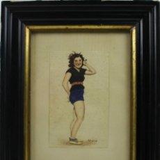 Arte: O1-027 - ACUARELA SOBRE PAPEL - PIN-UP - FIRMADO O.PISSO - AÑOS 50. Lote 44248207