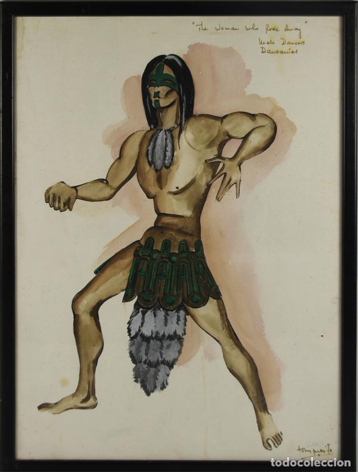 A2-035 TOMY PUIO. ACUARELA SOBRE PAPEL. THE WOMAN WHO DANCE AWAY. 1973. (Arte - Acuarelas - Contemporáneas siglo XX)