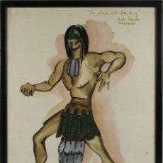Arte: A2-035 TOMY PUIO. ACUARELA SOBRE PAPEL. THE WOMAN WHO DANCE AWAY. 1973.. Lote 45310887