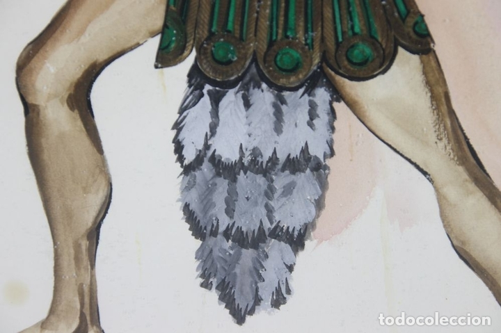 Arte: A2-035 TOMY PUIO. ACUARELA SOBRE PAPEL. THE WOMAN WHO DANCE AWAY. 1973. - Foto 6 - 45310887