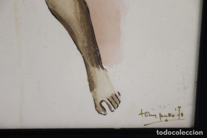 Arte: A2-035 TOMY PUIO. ACUARELA SOBRE PAPEL. THE WOMAN WHO DANCE AWAY. 1973. - Foto 7 - 45310887