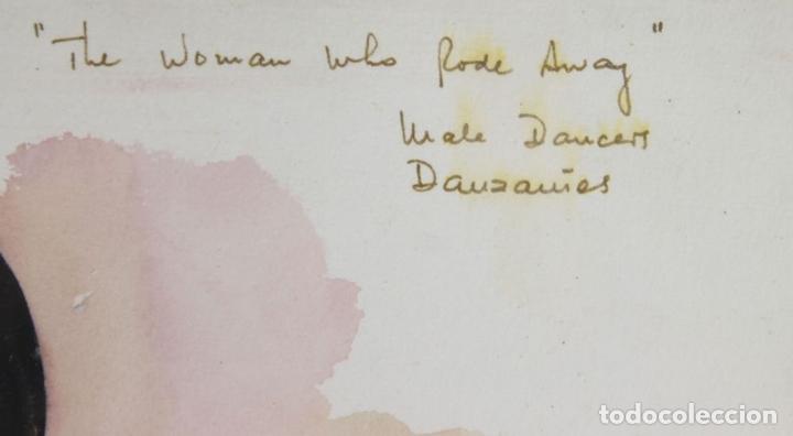 Arte: A2-035 TOMY PUIO. ACUARELA SOBRE PAPEL. THE WOMAN WHO DANCE AWAY. 1973. - Foto 9 - 45310887