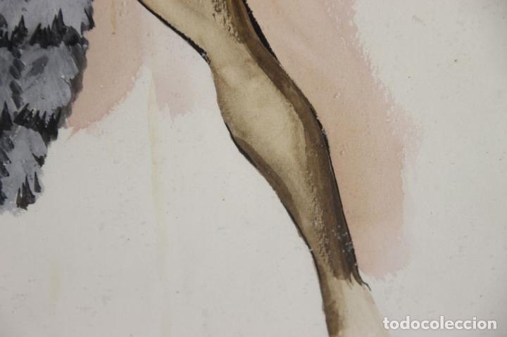 Arte: A2-035 TOMY PUIO. ACUARELA SOBRE PAPEL. THE WOMAN WHO DANCE AWAY. 1973. - Foto 11 - 45310887