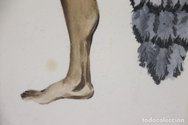 Arte: A2-035 TOMY PUIO. ACUARELA SOBRE PAPEL. THE WOMAN WHO DANCE AWAY. 1973. - Foto 13 - 45310887