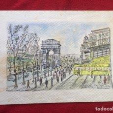 Arte: ACUARELA J. GUARDIOLA. PARIS - CHAMPS ELYSEE.. Lote 64836911