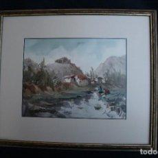 Arte: FELIP BRUGUERAS PALLACH, 1915, ( ACUARELA, PAISAJE CON PERSONAJES.). Lote 65654462