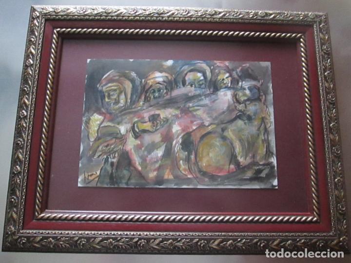 CUADRO CON MARCO+ARALAX-ACUARELA DE LINO SILVA-(CAMBADOS 1950)-SIN TÍTULO-51X40/30X21 CMS-EXCELENTE (Arte - Acuarelas - Contemporáneas siglo XX)