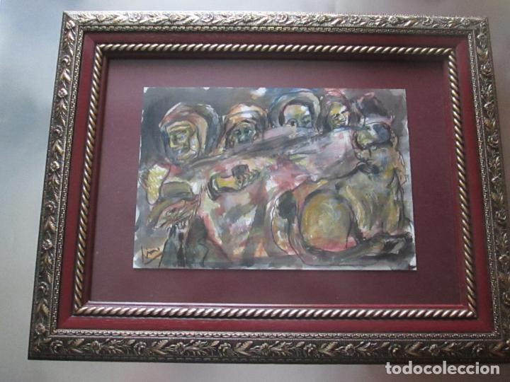 Arte: CUADRO CON MARCO+ARALAX-ACUARELA DE LINO SILVA-(CAMBADOS 1950)-SIN TÍTULO-51x40/30x21 CMS-EXCELENTE - Foto 2 - 65993342