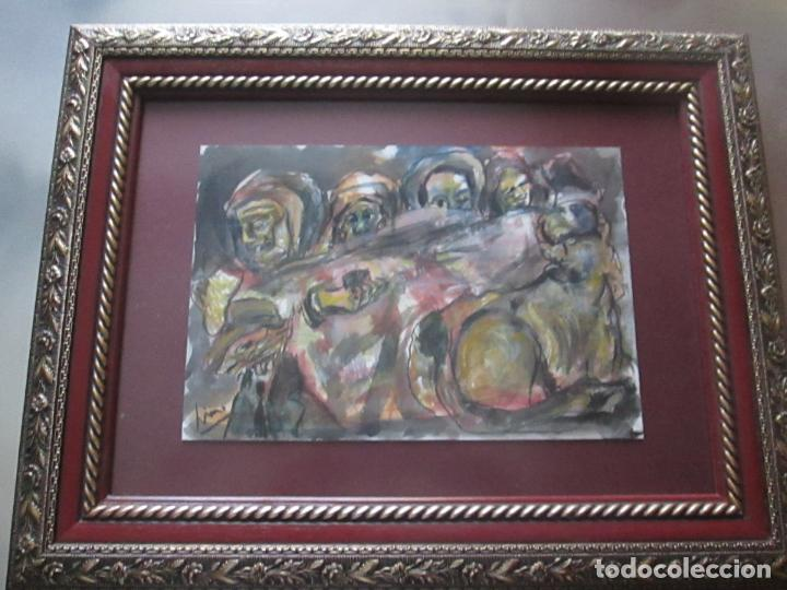 Arte: CUADRO CON MARCO+ARALAX-ACUARELA DE LINO SILVA-(CAMBADOS 1950)-SIN TÍTULO-51x40/30x21 CMS-EXCELENTE - Foto 3 - 65993342