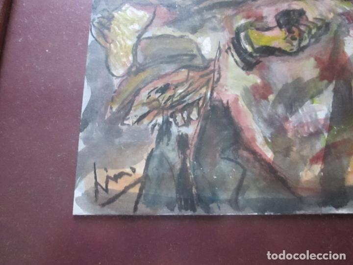 Arte: CUADRO CON MARCO+ARALAX-ACUARELA DE LINO SILVA-(CAMBADOS 1950)-SIN TÍTULO-51x40/30x21 CMS-EXCELENTE - Foto 4 - 65993342