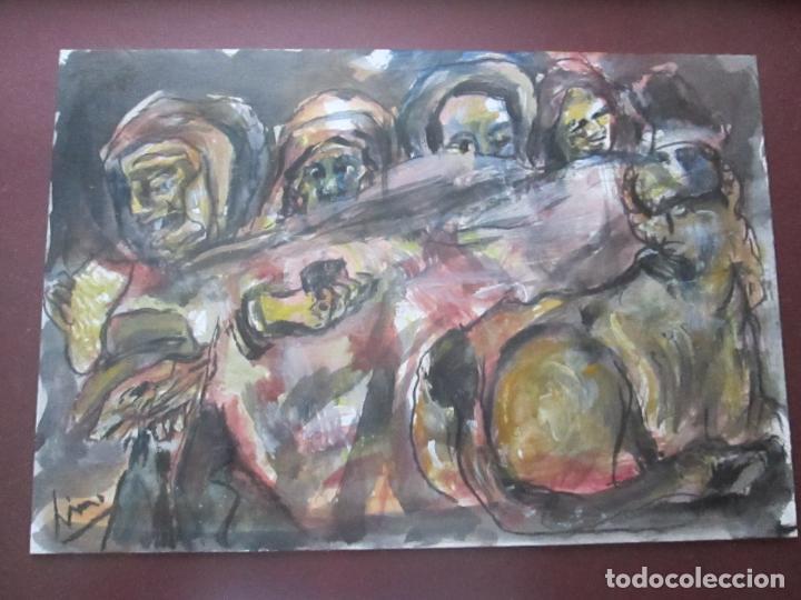 Arte: CUADRO CON MARCO+ARALAX-ACUARELA DE LINO SILVA-(CAMBADOS 1950)-SIN TÍTULO-51x40/30x21 CMS-EXCELENTE - Foto 6 - 65993342