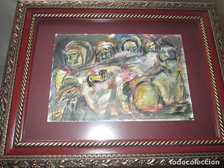 Arte: CUADRO CON MARCO+ARALAX-ACUARELA DE LINO SILVA-(CAMBADOS 1950)-SIN TÍTULO-51x40/30x21 CMS-EXCELENTE - Foto 9 - 65993342