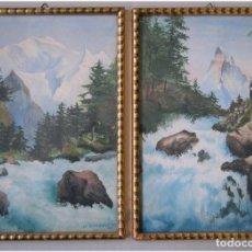 Arte: 1931 PAREJA DE ACUARELAS HOLANDESAS ORIGINALES. Lote 66175126