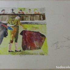Arte: BALDRICH NAVARRO, ACUARELA ORIGINAL FIRMADA TOROS. Lote 67443665
