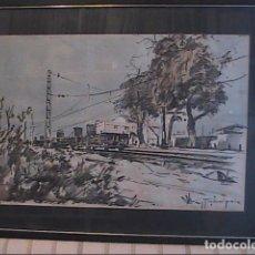 Arte: EXCELENTE ACUARELA DE JAUME SUÑOL PEIX. ESTACIÓN DE FERROCARRIL. 1960.. Lote 67451565