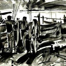Art: DIBUJO ORIGINAL. ACUARELA. PESCADORS. FDO: JORDI ALBORS. 81.. Lote 67499969