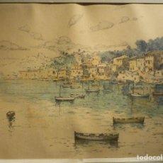 Arte: PUEBLO MALLORQUIN POR JOSEP VENTOSA (1892-1982). Lote 68299221