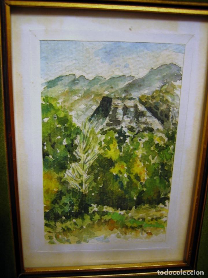 ACUARELA CON PAISAJE DE SIERRA ESPUÑA, PINTADA POR JALOQUE, CON MARCO- (Arte - Acuarelas - Contemporáneas siglo XX)