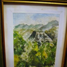 Arte: ACUARELA CON PAISAJE DE SIERRA ESPUÑA, PINTADA POR JALOQUE, CON MARCO-. Lote 68694897