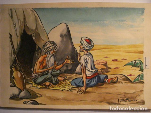 PRECIOSO DIBUJO AL GOUACHE DEL FAMOSO ILUSTRADOR IÑIGO - IGNACIO HERNANDEZ SUÑER AÑOS 1950 (Arte - Acuarelas - Contemporáneas siglo XX)