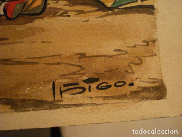 Arte: PRECIOSO DIBUJO AL GOUACHE DEL FAMOSO ILUSTRADOR IÑIGO - IGNACIO HERNANDEZ SUÑER AÑOS 1950 - Foto 4 - 68789677