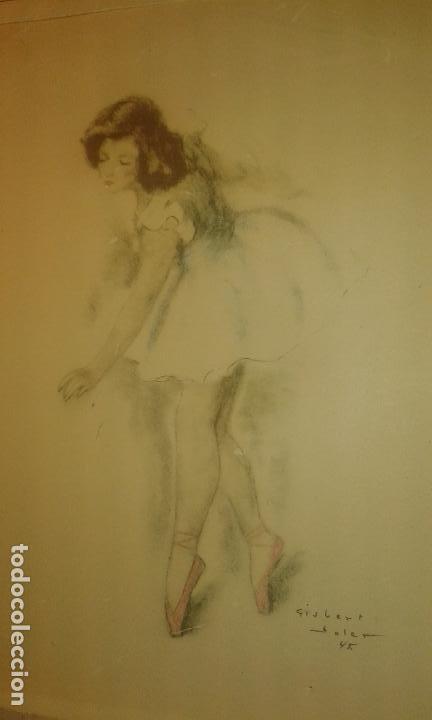 BAILARINA. FIRMADO GISBERT SOLER. FECHADO 1945. (Arte - Acuarelas - Contemporáneas siglo XX)