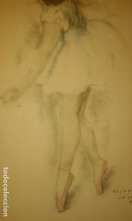 Arte: Bailarina. Firmado Gisbert Soler. Fechado 1945. - Foto 3 - 68855497