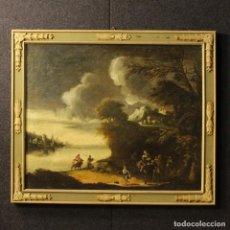 Arte: ANTIGUA PINTURA ITALIANA PAISAJE CON PERSONAJES DEL SIGLO XVIII. Lote 69074609