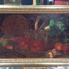 Arte: PINTURA ESPAÑOLA NATURALEZA MUERTA CON LANGOSTA FIRMADO Y FECHADO EN 1883. Lote 69584229
