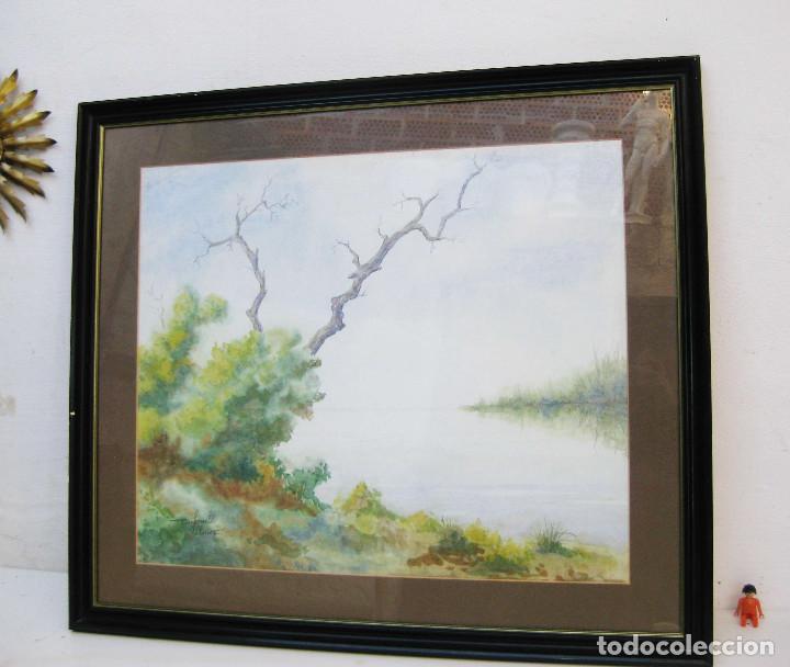 Arte: gran cuadro acuarela 93x82 CARBONELL PALACIOS VALENCIA asociacion acuarelistas pont de fusta - Foto 3 - 69673981
