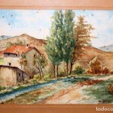 Arte: ACUARELA / PAPEL - FIRMADA M. RIERA CASANOVA - PAISAJE - 20,5 X 28 CM. - H. 1930. Lote 70287521