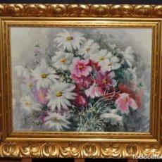 Arte: MONTSERRAT BAIXAS (BARCELONA, 1900 - ?) ACUARELA ADHERIDA A TABLA. AÑOS 40-50. BODEGON DE FLORES. Lote 71098129