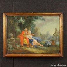 Arte: VIEJA PINTURA FRANCÉS DE PAISAJE CON LOS PERSONAJES DEL SIGLO XVIII. Lote 71546483