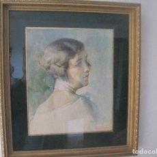 Arte: PRECIOSO RETRATO ACUARELA, MENSA I SALAS, FIRMADO. 1875-1935. 50X44, SIN MARCO 33X27. Lote 72043379