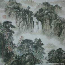 Arte: PAISAJE CHINO CON CASCADA, ORIGINAL CON PASPARTÚ (50 X 50 CMS). Lote 71718399