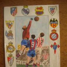 Arte: BONITA ACUARELA DE LOS EQUIPOS DE LA LIGA ESPAÑOLA, FUTBOL CLUB BARCELONA, REAL MADRID,VALENCIA 1950. Lote 72461695