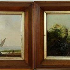 Arte: PAREJA DE PAISAJES. ÓLEO SOBRE TABLA. FIRMADO. MERCADE. 1850. SIGLO XIX.. Lote 72757143