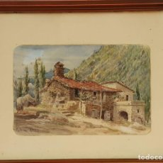 Arte: PAISAJE RURAL DE MALLORCA. ACUARELA SOBRE PAPEL. ANTONIO RIBAS OLIVER. 1899. . Lote 72768651