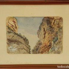 Arte: CALA LES CABAS. MALLORCA. ACUARELA SOBRE PAPEL. ANTONI RIBAS. SIGLO XIX. . Lote 72770679