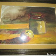 Arte: ACUARELA-ANTONIO HEREDERO(MADRID 1918.VIGO 2008)-BODEGÓN-65X50/48X33-MARCO+CRISTAL+PASPARTÚS. Lote 73065095