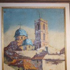 Arte: OLEO SOBRE LIENZO ORIGINAL PAISAJE PUEBLO ANTIGUO FIRMADO. Lote 73837515