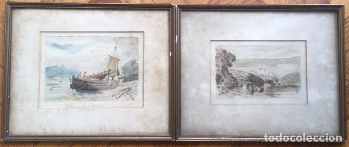 ACUARELA FIRMADA GALLEGOS (INCLUYE OTRA ACUARELA DE REGALO) (Arte - Acuarelas - Modernas siglo XIX)