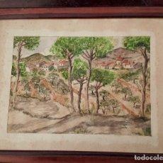 Arte: CASTELLBA, ACUARELA DE M CABRE 1949. Lote 74462975