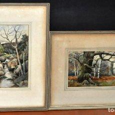 Arte: HERBERT E. HILL (JAPÓN, 1896 - PASADENA, USA, 1962) PAREJA DE ACUARELAS. PAISAJES.. Lote 74844163