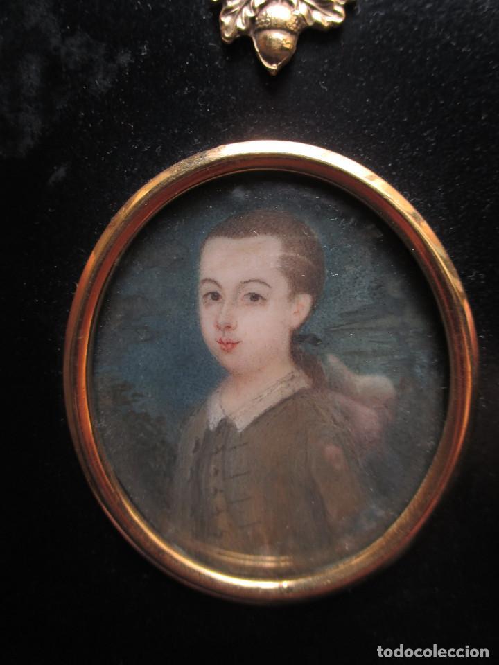ACUARELA SOBRE MARFIL, RETRATO EN MINIATURA DE NIÑO XVIII. ESCUELA INGLESA (Arte - Acuarelas - Antiguas hasta el siglo XVIII)