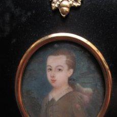 Arte: ACUARELA SOBRE MARFIL, RETRATO DE NIÑO XVIII. ESCUELA INGLESA. Lote 75041555