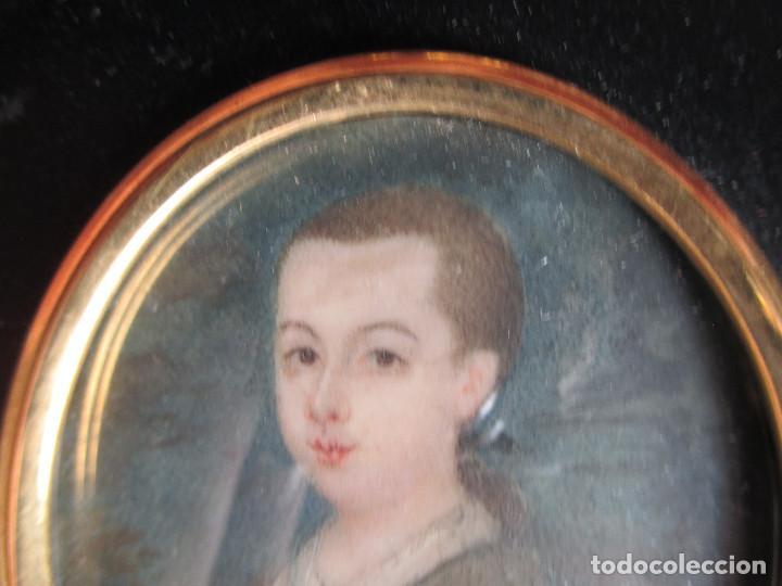 Arte: Acuarela sobre marfil, retrato en miniatura de niño XVIII. Escuela inglesa - Foto 3 - 75041555