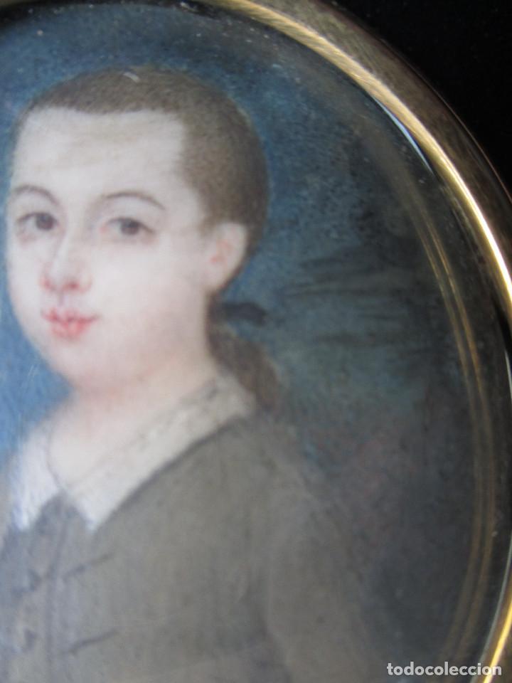 Arte: Acuarela sobre marfil, retrato en miniatura de niño XVIII. Escuela inglesa - Foto 4 - 75041555