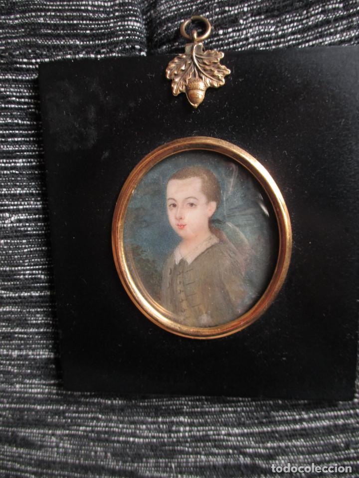 Arte: Acuarela sobre marfil, retrato en miniatura de niño XVIII. Escuela inglesa - Foto 5 - 75041555